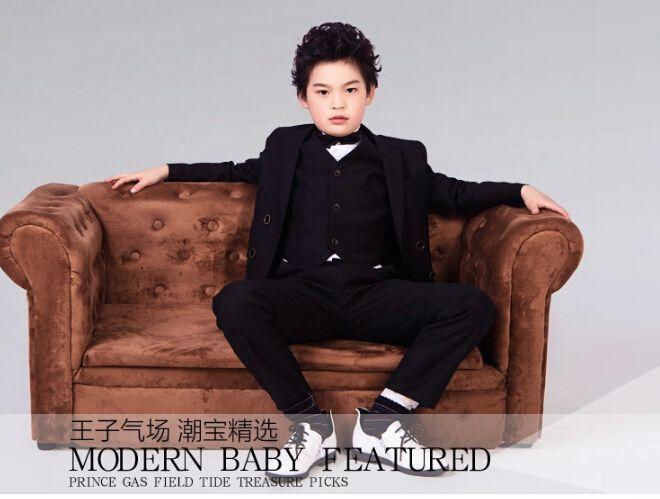 Elegant boys business suit pure color performance gown double-breasted suit wedding flower boys suits jacket+pants+tie