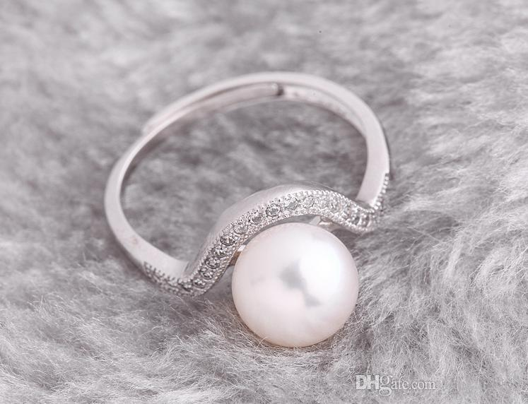 wholesale beautiful pearl Rings Hong Fu Yuan 8-9mm perfect circle natural pearl ring HFY-1513