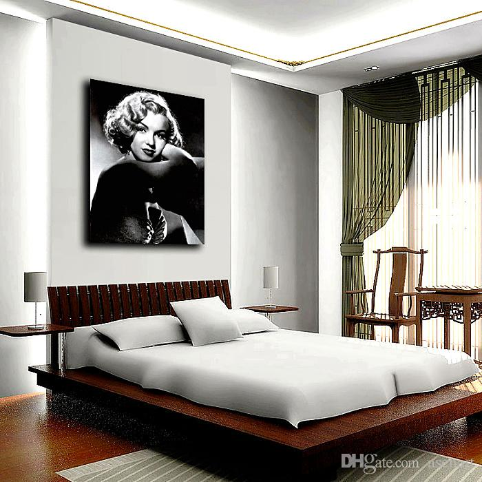 Sexy Marilyn Monroe Picture Modern Oil Painting Printed on Canvas Mural Art for Home Living Hotel Cafe Wall Decor