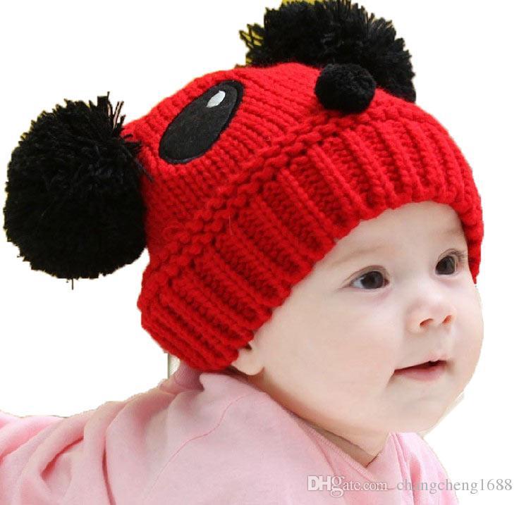 7fd614adaaf Unisex Infant Panda Design Beanies Knitted Bobbles Hats Children ...