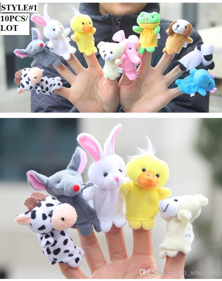 /Animal Finger Puppet Plush Toys Children's Story Props Kid's Halloween Christmas Dolls Gifts