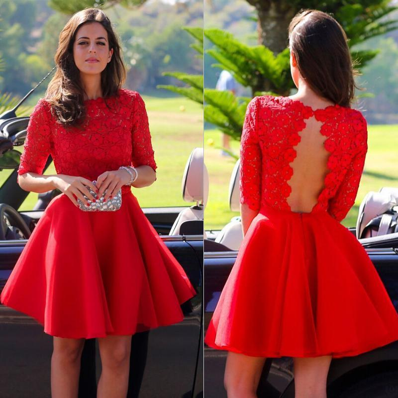 67d7590e97a50 2015 Custom Short Red Graduation Dresses Short Sleeves Vintage High Neck  Lace Bodice Cut Out Open Back Homecoming Dresses Cocktail Dresses