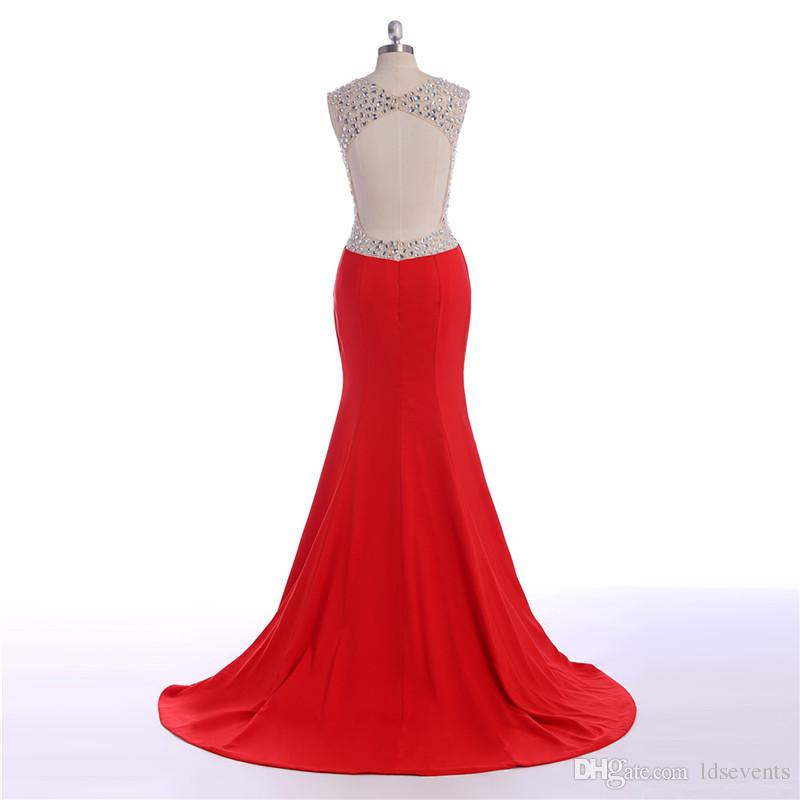 Spandex Long Red Evening Dresses Open back Crystals Sweetheart Neckline High Side Slit Court Train Cheap Vestido De Festa Longo Party Gowns