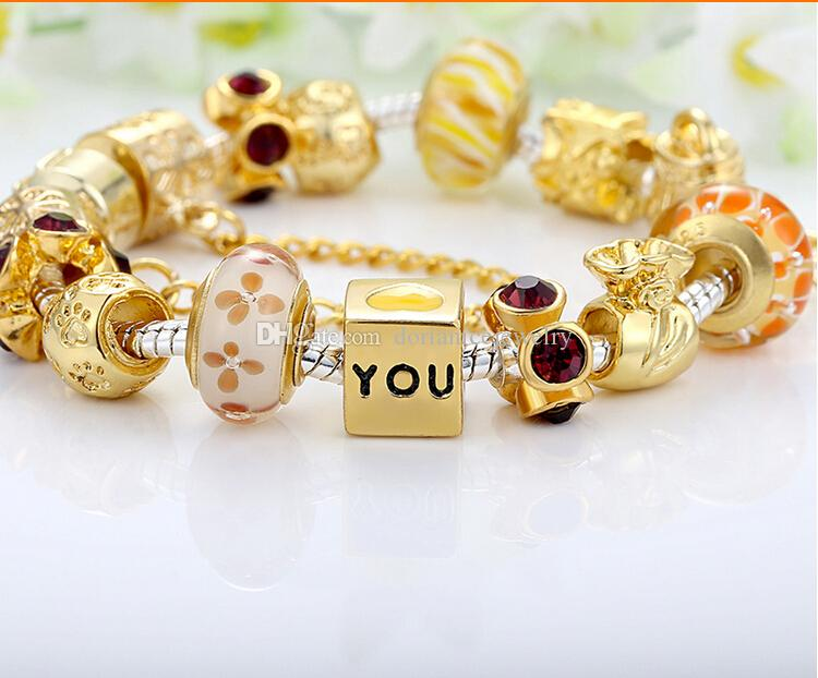 The key to my heart, Golden Charm Bracelets with Murano Glass Beads & Brilliant Cubic Zirconia & Key Dangle BL059