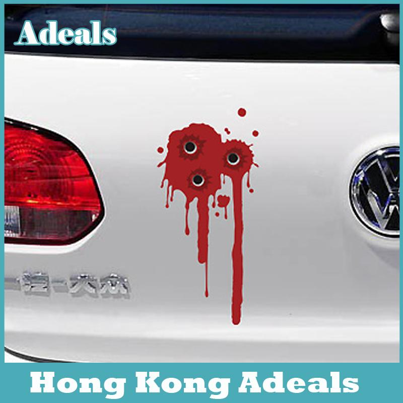 Cool Blood Car Sticker Fake Bullet Holes Creative Funny - Cool car decal stickers
