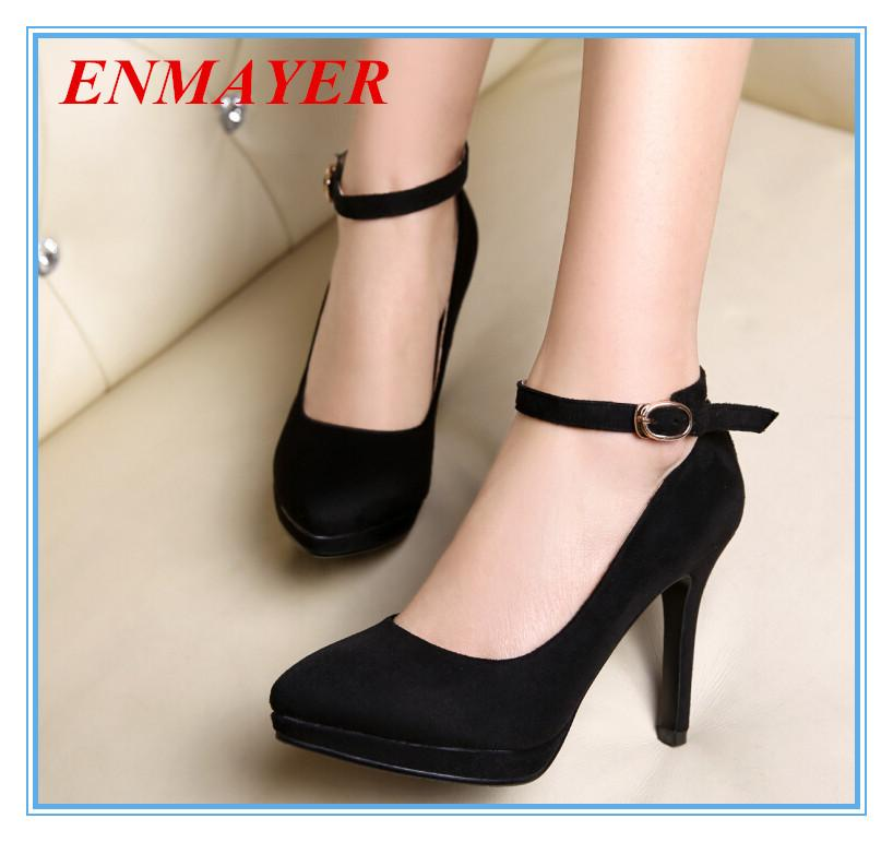Enmayer Ankle Strap Closed Toe Thin Heels Fashion Pumps Senior ...