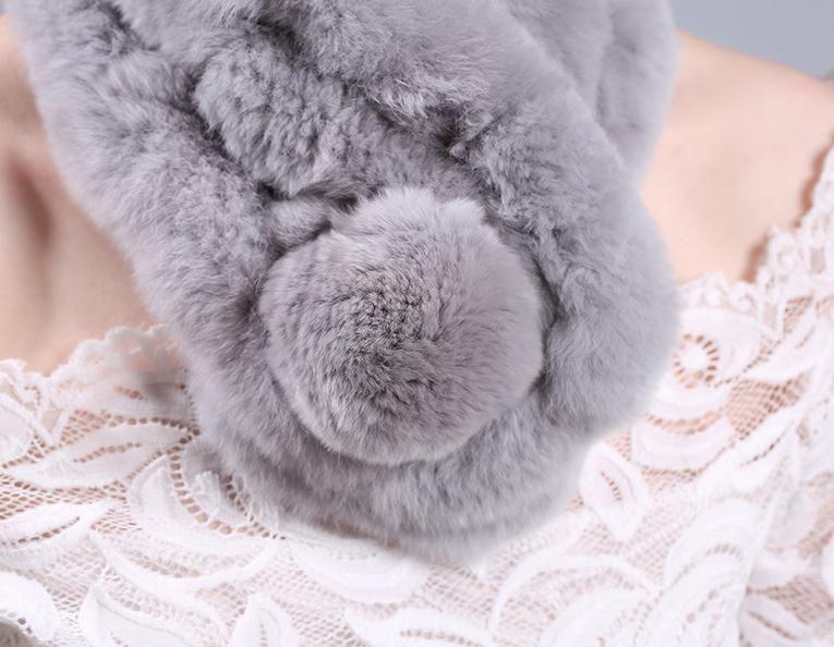 Womens 100% Real Rex Rabbit Fur Scarf Winter Warm Neck Wraps Ball Hand Knit