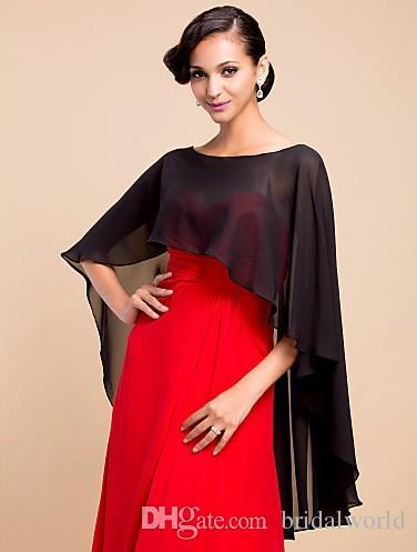 Wedding Capes Custom Made Fashion Bianco Nero Rosso Chiffon Mantello Mantello Medievale Rinascimentale da sposa Involucri da sposa 2016 di alta qualità