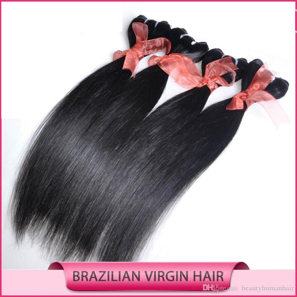 Menschliche Haarwebart Brasilianisches Haar Gerades Haar Spinnt Schuss Günstige Haarverlängerungen Doppelschuss Menschliches Haar 6 bundles 50g pro bündel