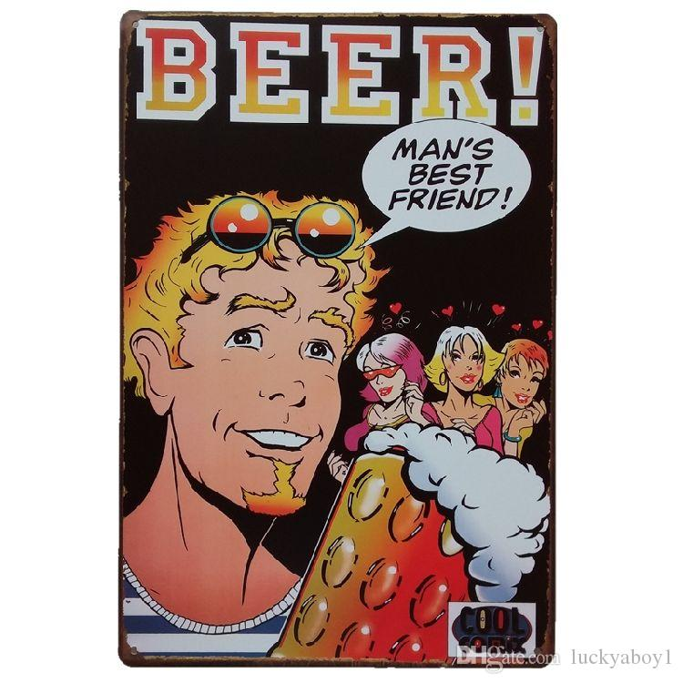 beer Man's Best Friend Vintage Tin Signs Poster Retro Plaques Bar House Gallery Kitchen Garage Room Wall Decor Painting