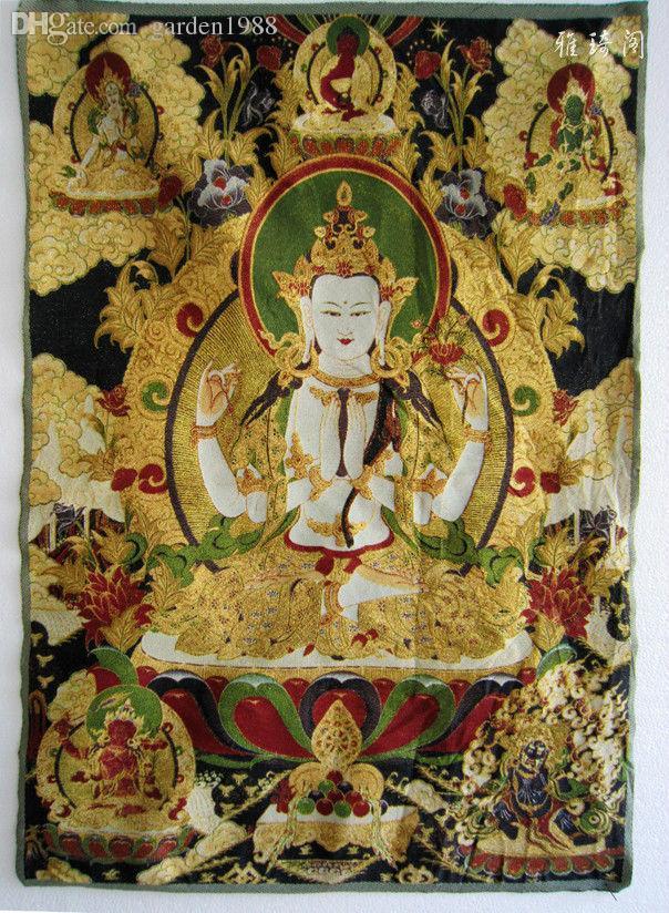2018 Tibetan Nepal Silk Buddhist Thangka Four Arms Four Hands Kwan ...