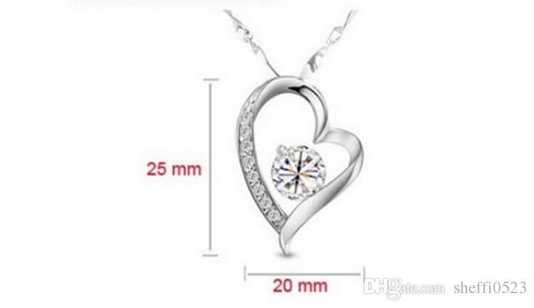 18K plateado corazón collar pendientes pulseras conjuntos moda romántica CRISTAL Jewelry Sets para mujeres amor sistemas de la joyería 8025