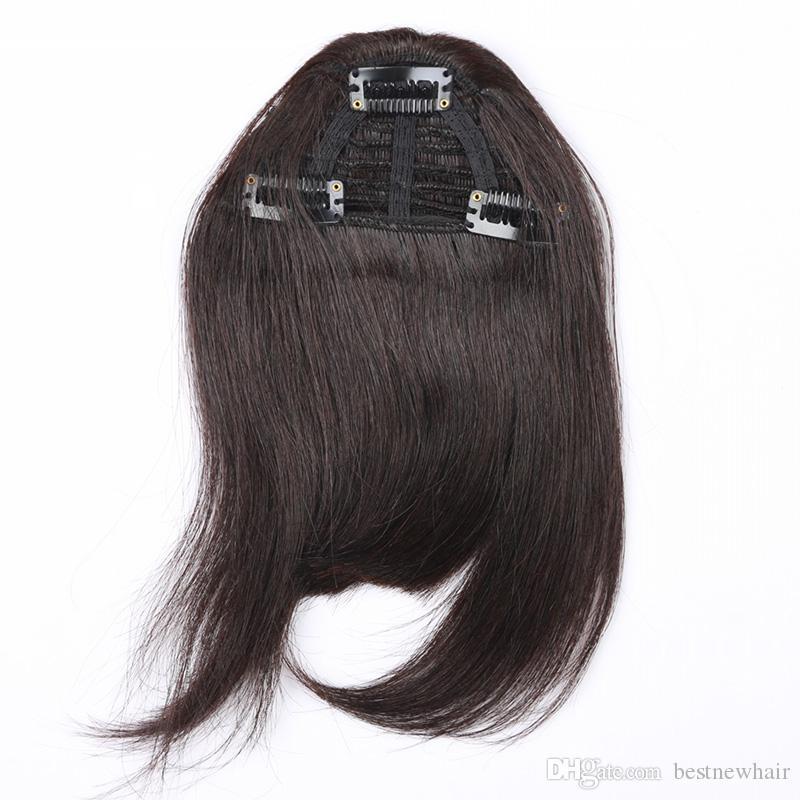 3 Clips pcs 7 Zoll Schwarz Braun Bonde Farbe Kombination Menschenhaarverlängerung Fringe Haarspangen in Einfach Bewerben Menschliches Haar Pony