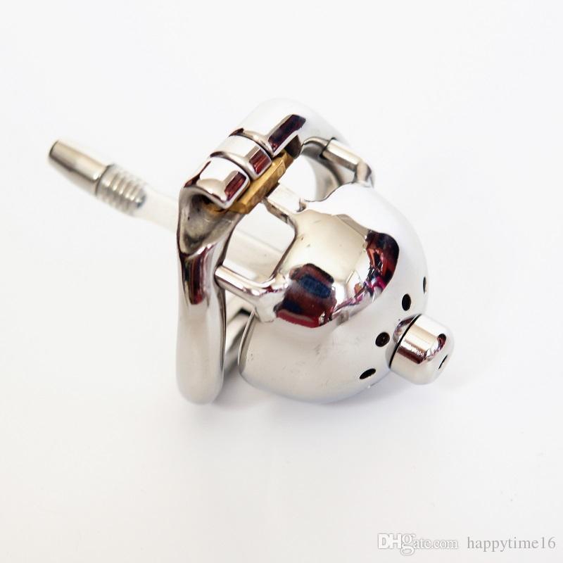 China Short Cock Chastity Cock Cage Device con nuova serratura e tubo in silicone rimovibile Uretrale