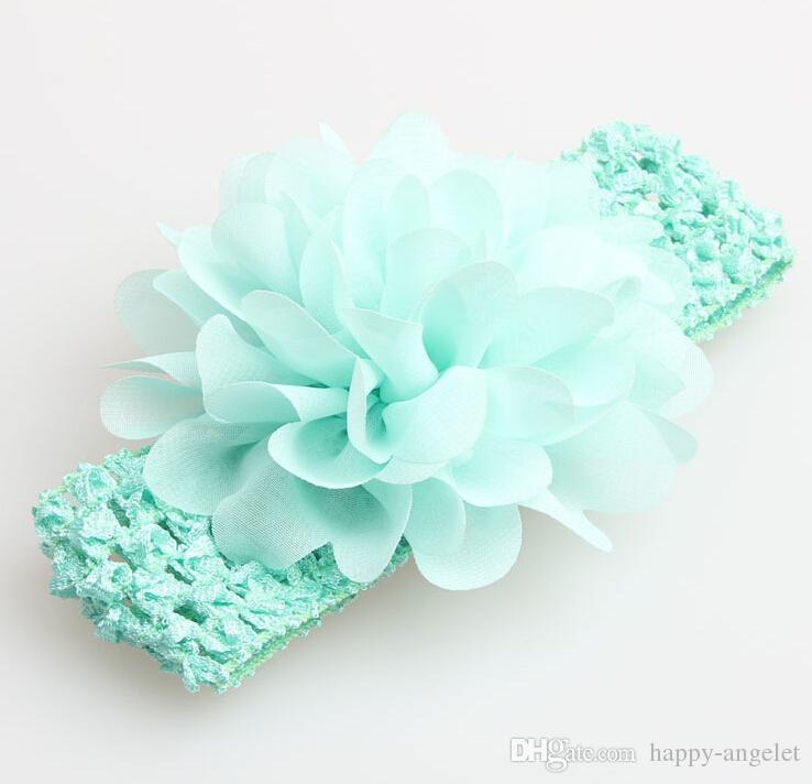 bebé Headwear Cabeza de flor accesorios del pelo de la flor de gasa de 4 pulgadas con suaves vendas del ganchillo de elástico del pelo elástico banda GZ7409