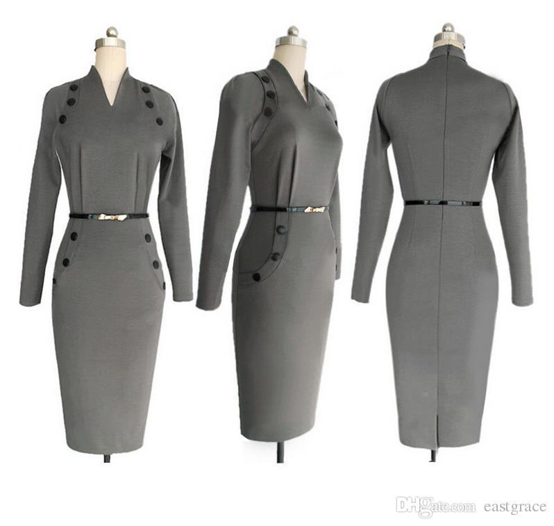 V-образным вырезом с длинным рукавом Платье Пуговицы для украшения Юбка-карандаш Европейская женская одежда Модные рабочие платья для женщин двух цветов