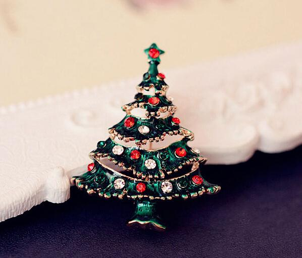 Fashion Xmas Gifts Rhinestone Green Enamel Christmas Tree Brooch Pin Gold Tone Brooches Jewelry Wholesale