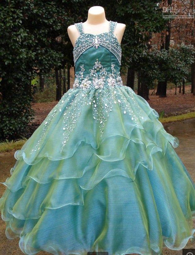 Suknie Korownicze z Rinestone 2014 Princess Spaghetti Błyszcząca Księżniczka Balowa Suknia Kwiat Girl Sukienki