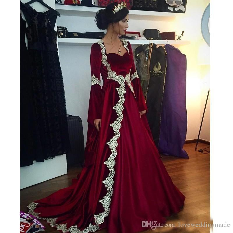 Winter 2019 Arabic Burgundy Velvet A Line New Year/Christmas Dresses Long Sleeve Coat Applique Custom Made Evening Gown