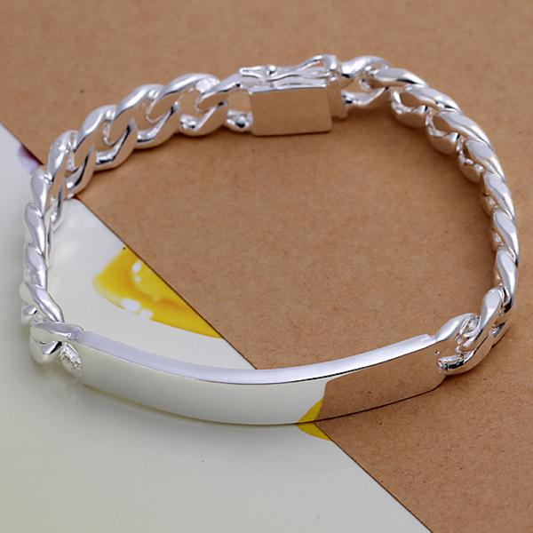 Cool Men's Bracelets 925 Silver plated 10MM ID Chain Curb Bracelets Silver Bracelet For Men Wholesale price