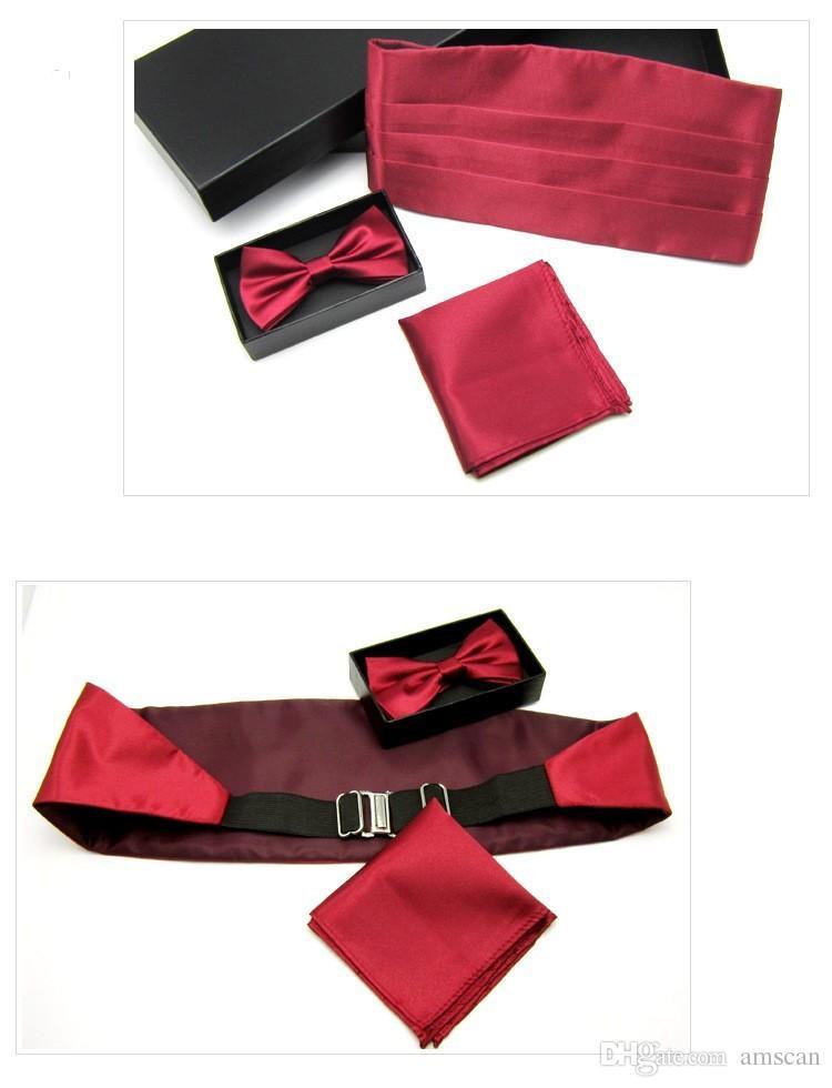 Hombres de alta calidad de satén de color sólido Bowtie Cummerbund pañuelo de bolsillo conjunto de los hombres vestido formal Cummerbund Hanky Caja de regalo