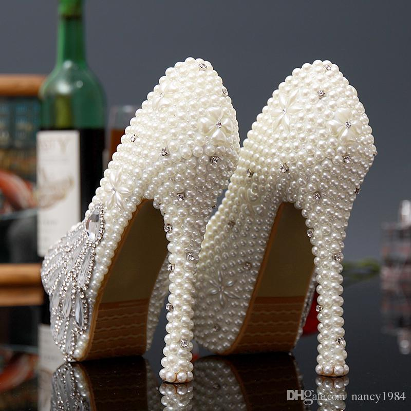 Gorgeous Full pearls Beaded High-heeled Bridesmaid Bridal Shoes Crystal Diamond Lady Shoe for Wedding Party Ball Prom Pageant Event