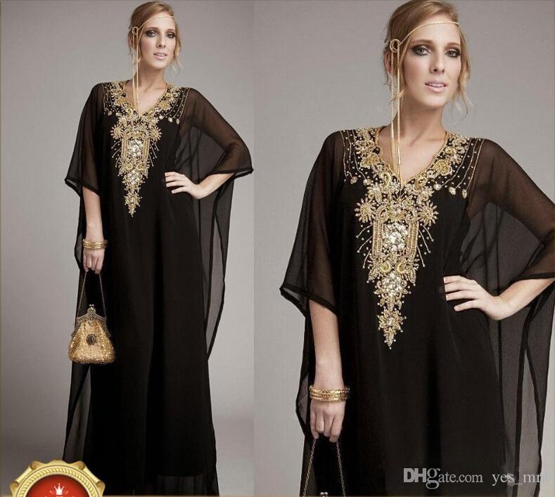 여성을위한 새로운 저렴한 긴 아랍어 이슬람 의류 두바이 kaftan 무슬림 아랍어 이브닝 드레스 V 목 쉬폰 비즈 파티 댄스 파티 드레스