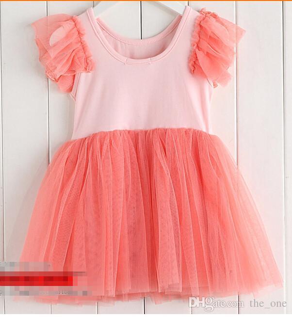 Girls Colorful Tutu Skirt Short Sleeved Costume Pettiskirt girls summer tutu dress