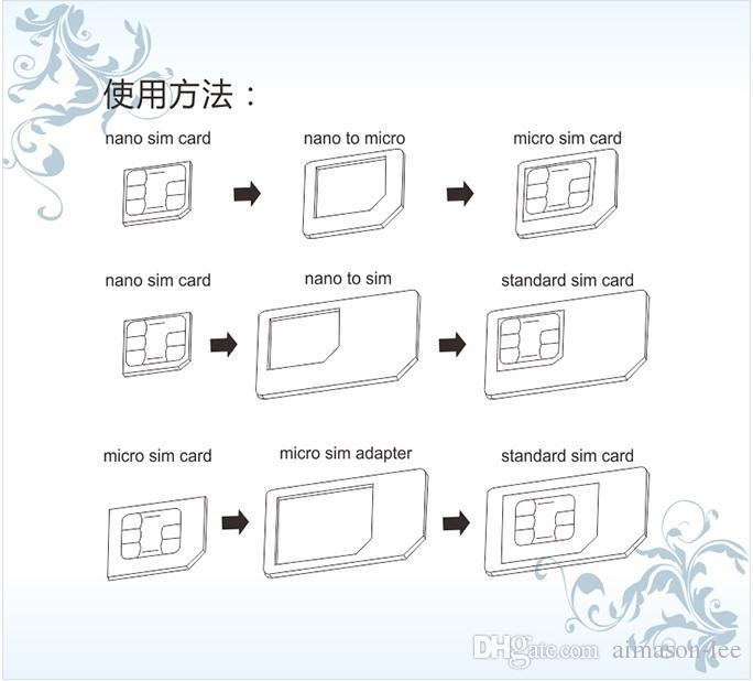 noosy 4 1 Nano Mikro SIM Kart adaptörü ile perakende paket DHL üzerinden 200 adet / grup