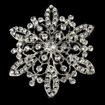2.2 Inch Bloem Crystal Vintage Silver Tone Diamante Broche