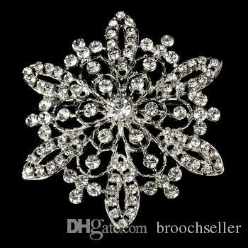 Flor de 2,2 pulgadas de cristal vintage broche de diamante en tono plateado