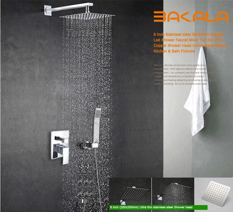 Best Bakala Luxury 8 10 12 Inch Stainless Steel Bathroom Rain Shower Faucets  Head Shower Set With Hand Shower Under $100.51 | Dhgate.Com