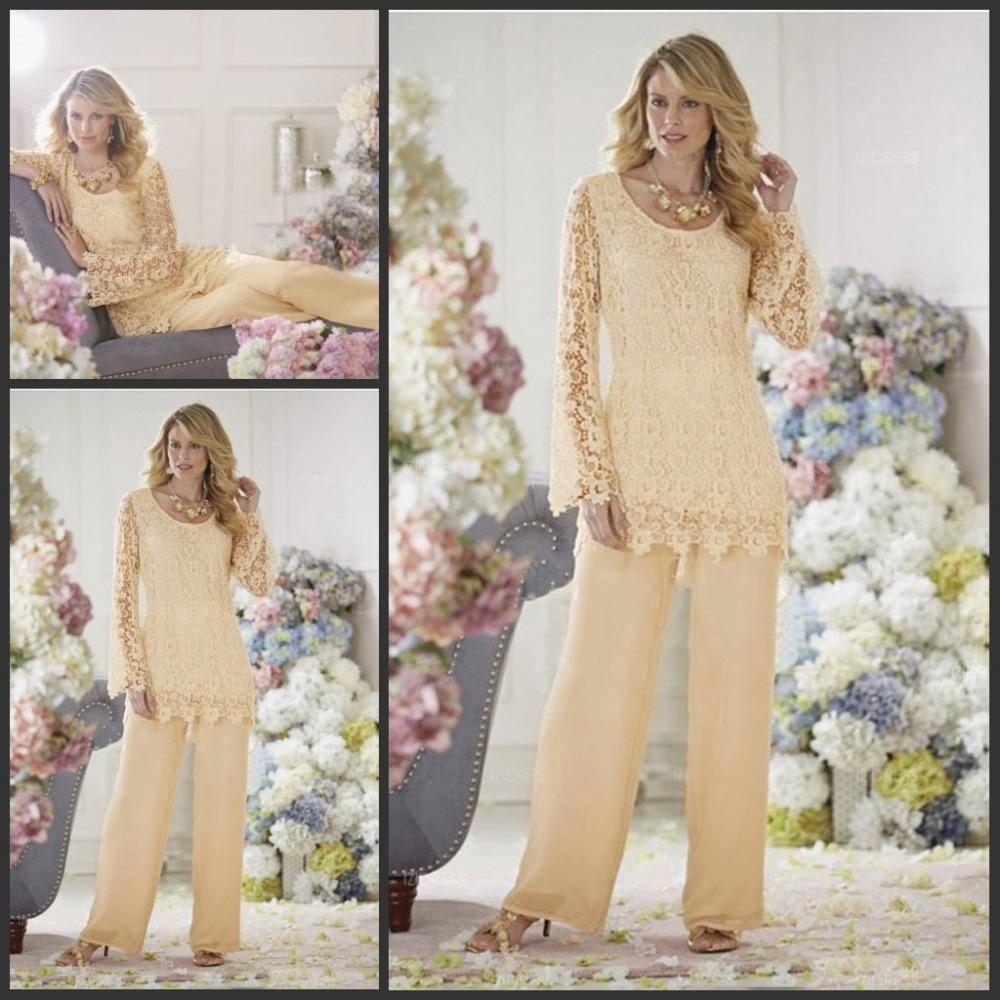 Two Piece Lace Mother Pant Suits For Wedding Mother of the Bride Pant Suits Chiffon Long Sleeve Groom Mother Clothes Cheap Bridal Party