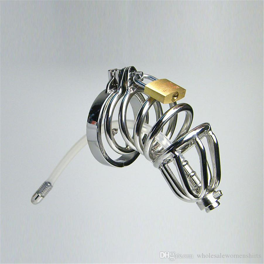 Stainless steel chastity belt t rumpet male chastity device with silicone catheter male belt male chastity sex,sex toys sex products on sale