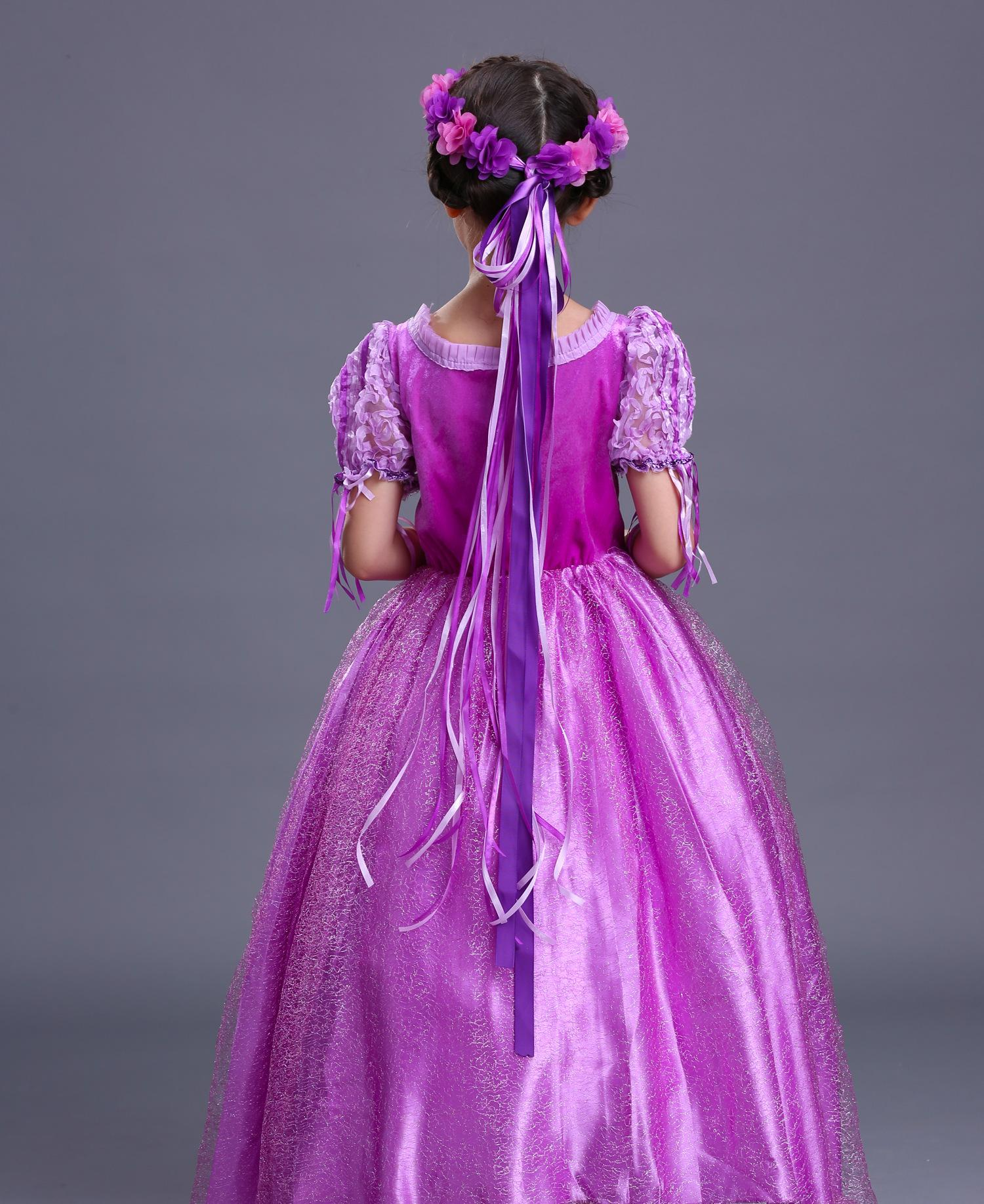 Purple Girls princess dress Christmas performance wear gifts Layer tutu cosplay party dresses Gloves flowers beads