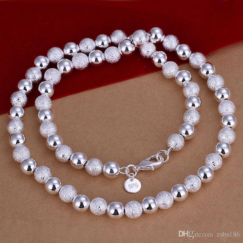 Высокое качество 925 посеребренные 8 мм матовый свет бусины ожерелье мода унисекс ювелирные изделия длинные 50 см высокое качество бесплатная доставка