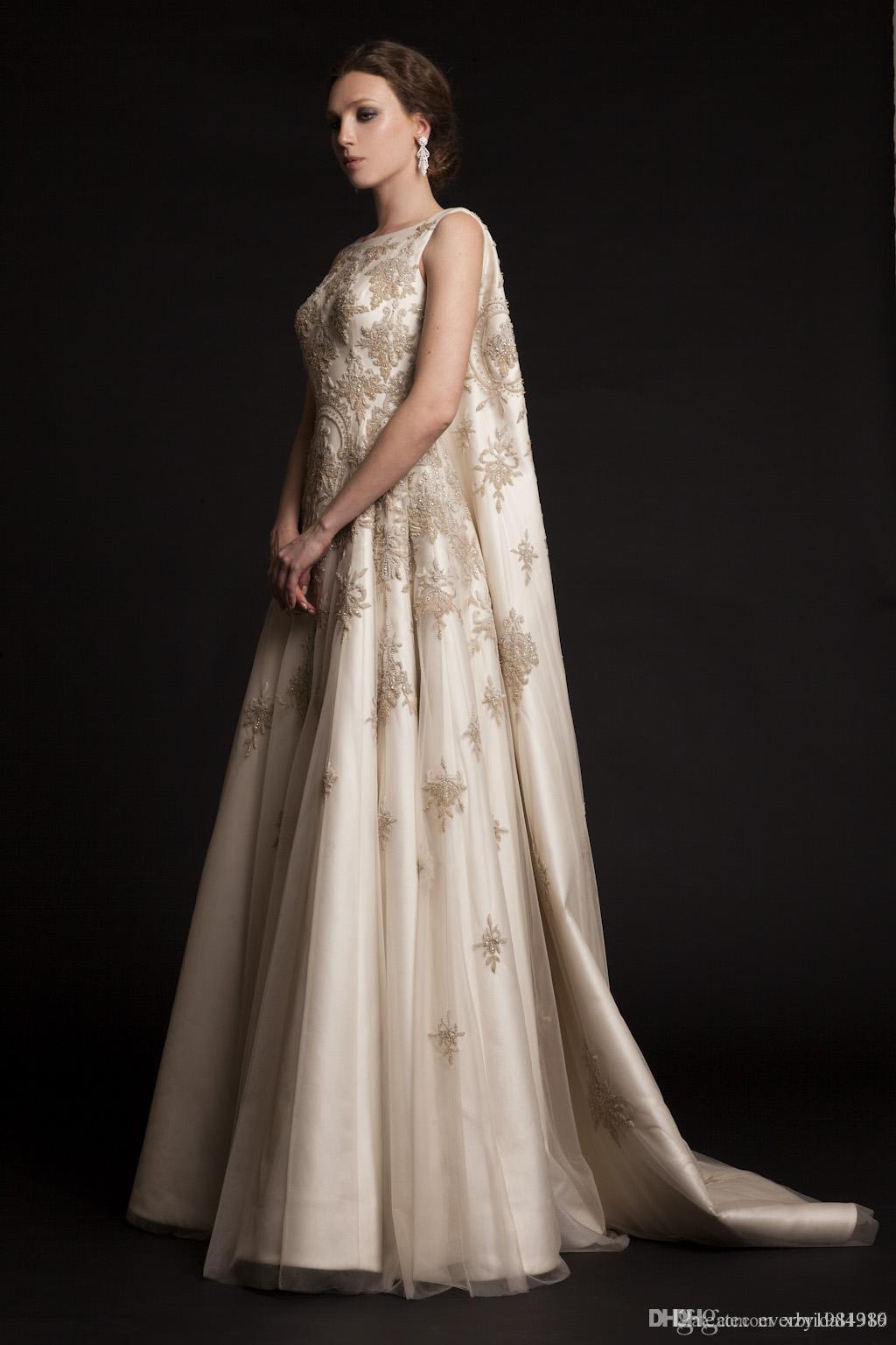 Krikor Jabotian Abendkleider 2015 Bestickt mit Perlen verziert SpitzeAppliques-Kleid-Partei-Abend-Abnutzung Arabisch Watteau Zug Satin Abendkleider