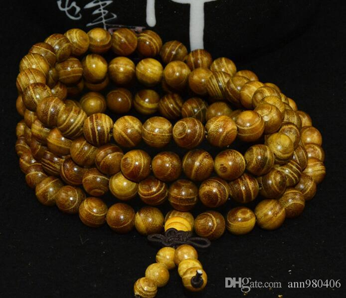 Bracelet en perle de Bouddha en bois de santal de la mode 2017 The New 108 0.6 0.8 hommes et femmes lignes naturelles lisses navire libre