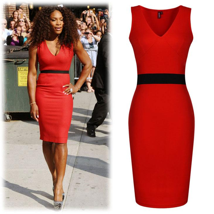 Red/White Work Dresses Cap Sleeves Full Back V Neck Back Mid-calf Bodycon  Dresses Women Summer Style XXL Celebrity Inspire Plus Size Dresses