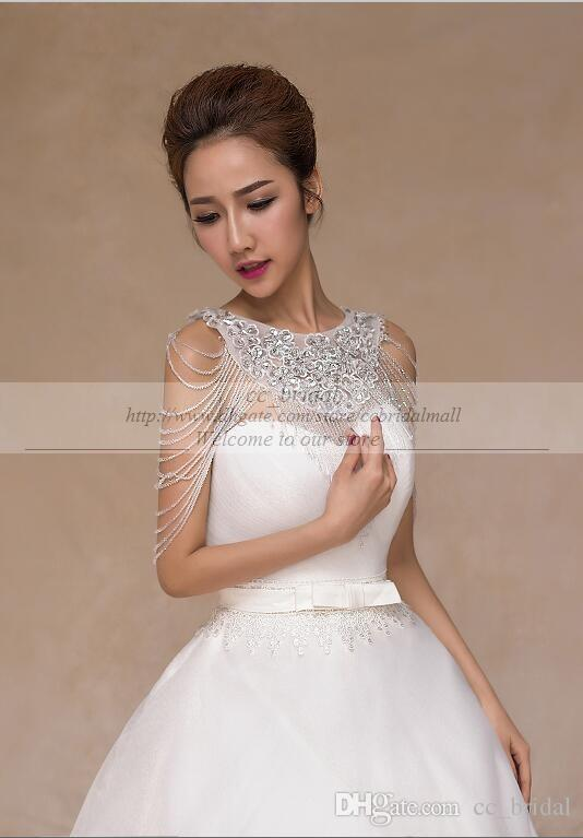 2015 Luxurious Crystal Rhinestone Jewelry Bridal Wraps White Lace Wedding Shawl Jacket Bolero Jacket Wedding Dress Beaded Bridal Winter Coat