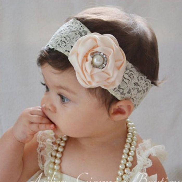 Bebek Saten Gül Bantlar Kız Inci Elmas Dantel Hairbands Çocuk Saç Aksesuarları Çiçek Saç bandı Çocuklar Saç Süsler Fotoğraf Sahne