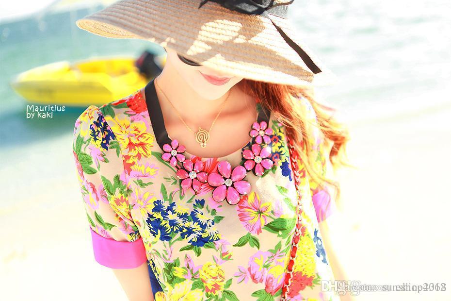 Cappelli di paglia pieghevoli estive delle donne di nuovo cappello di modo delle donne le cappe della spiaggia delle donne i Commercio all'ingrosso superiore di qualità