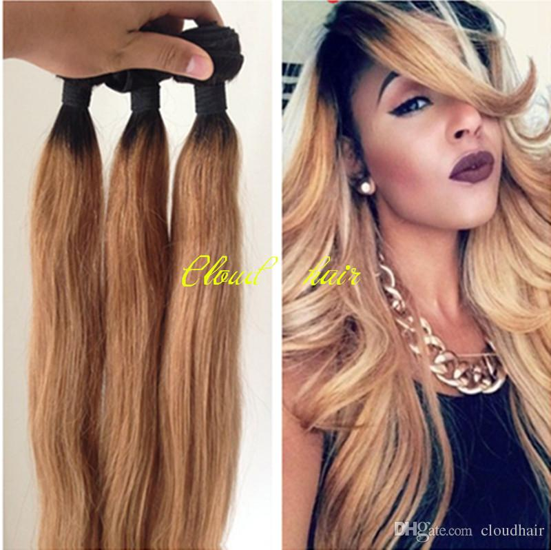 Top grade 8a ombre hair extensions virgin brazilian human hair top grade 8a ombre hair extensions virgin brazilian human hair weave 1b 27 honey blonde dark root ombre straight two tone hair bundles weft extension pmusecretfo Image collections