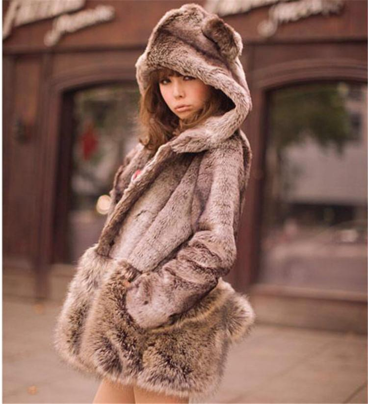 Best Fashion Faux Fur Hooded Long Sleeve Coat Little Bear Ears ...