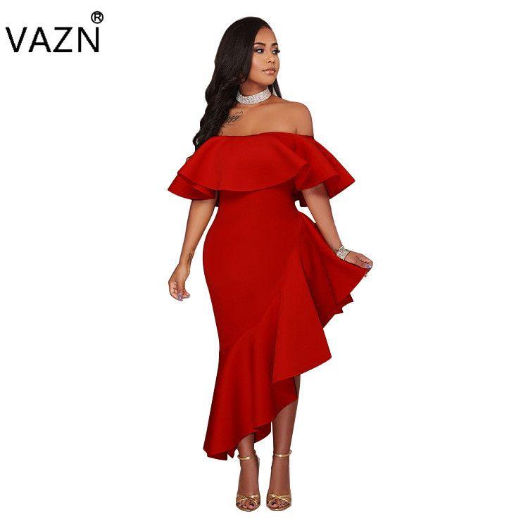 VAZN 2018 새로운 디자인 상단 붕대 드레스 섹시한 Strapless 맥시 클럽 드레스 짧은 소매 롱 드레스 K9118 q1118
