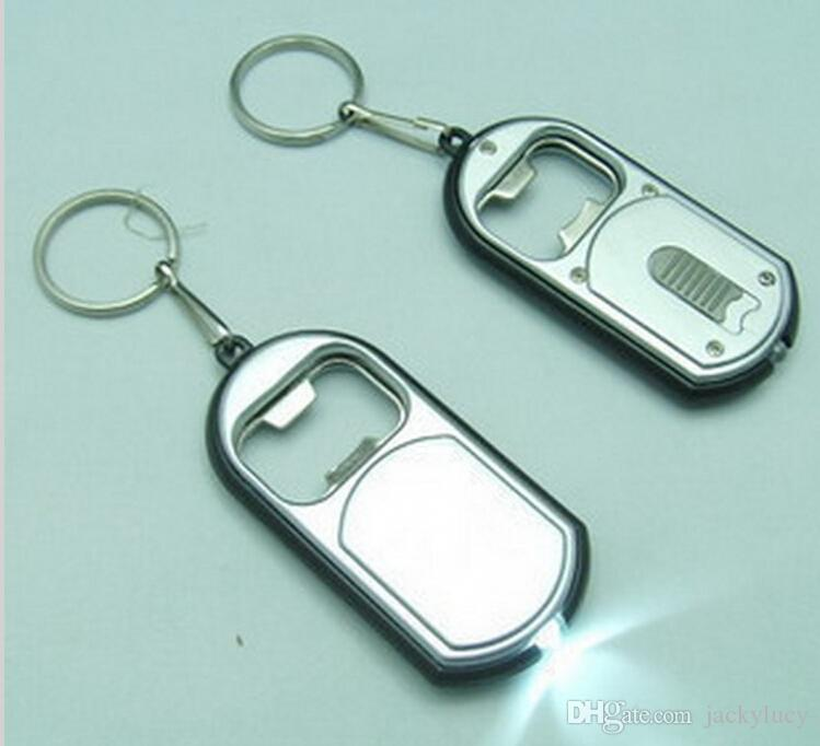 Unique Favors Wedding Gift LED Keychain with Bottle Opener Key Chain Ring Can be Print LOGO