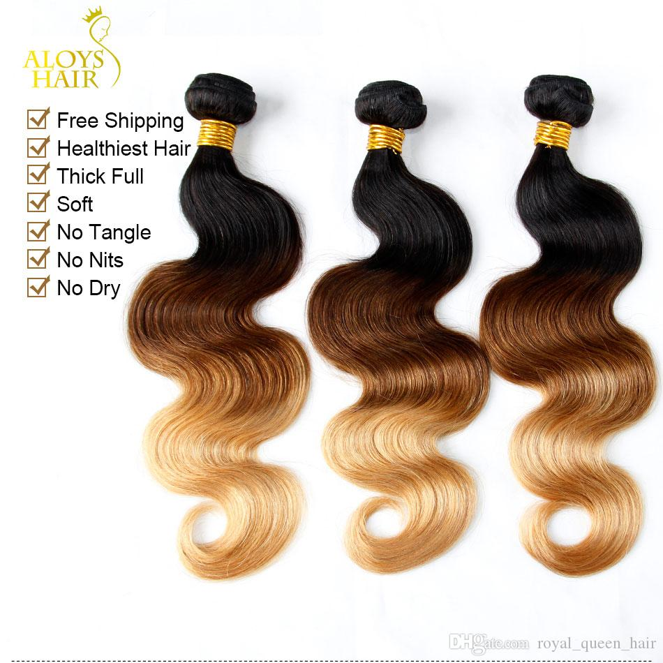 Ombre Mongolian Hair Weave Bundles Grade 6A Ombre Mongolian Body Wave Virgin Human Hair Extensions Three Tone 1b/4/27# Tangle Free