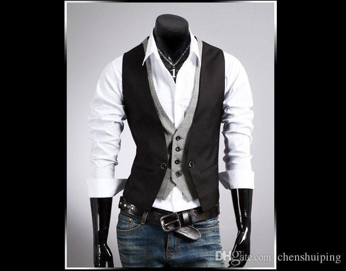 Moda nuova maglia degli uomini con scollo a V falso in due pezzi giacca gilet panciotto, nero, kaki, M L XL XXL Capispalla Cappotti spedizione gratuita