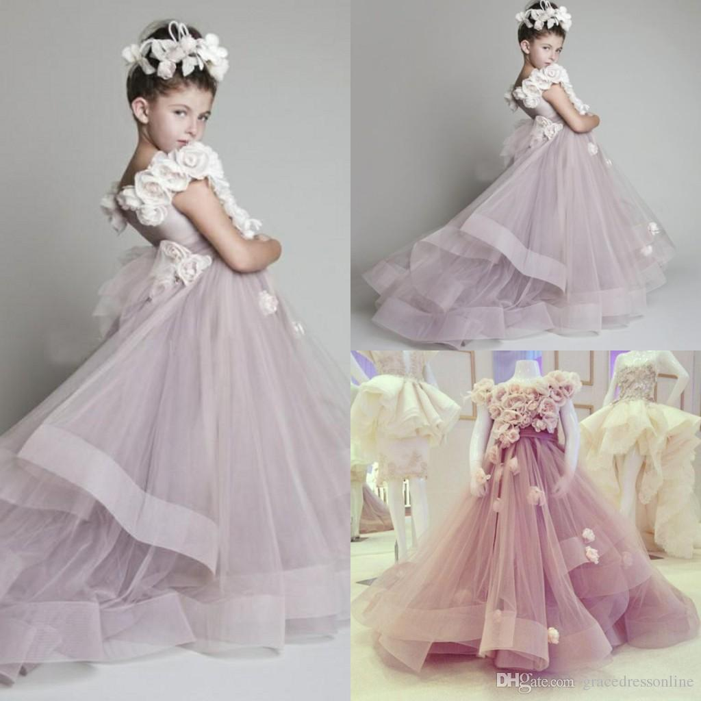 Lavender Flower Girls Dresses For Weddings Hand Made Flowers Organza
