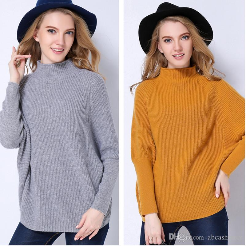 2018 Half Turtleneck Bat Sleeve Cashmere Pullover Sweater For ...